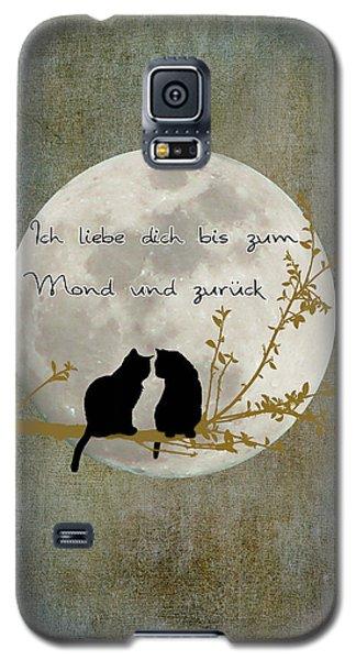 Galaxy S5 Case featuring the digital art Ich Liebe Dich Bis Zum Mond Und Zuruck  by Linda Lees