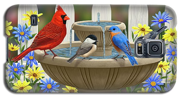 The Colors Of Spring - Bird Fountain In Flower Garden Galaxy S5 Case