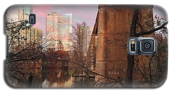 Austin Hike And Bike Trail - Train Trestle 1 Sunset Triptych Middle Galaxy S5 Case