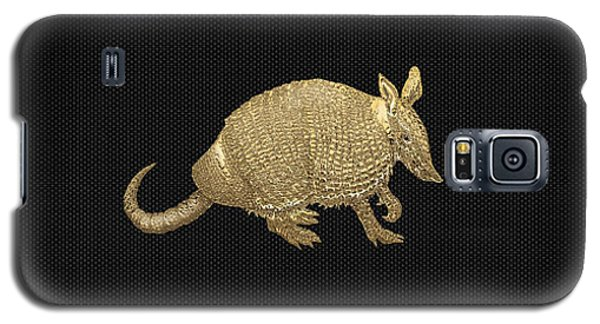 Gold Armadillo On Black Canvas Galaxy S5 Case by Serge Averbukh