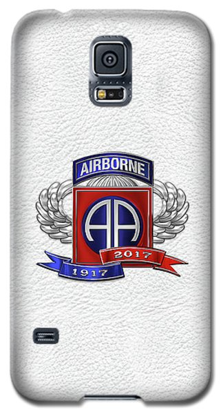 82nd Airborne Division 100th Anniversary Insignia Over White Leather Galaxy S5 Case