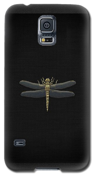 Galaxy S5 Case featuring the digital art Gold Dragonfly On Black Canvasgold Dragonfly On Black Canvas by Serge Averbukh