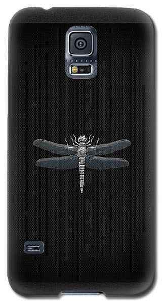 Galaxy S5 Case featuring the digital art Silver Dragonfly On Black Canvas by Serge Averbukh
