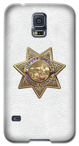 Galaxy S5 Case featuring the digital art Marin County Sheriff Department - Deputy Sheriff Badge Over White Leather by Serge Averbukh