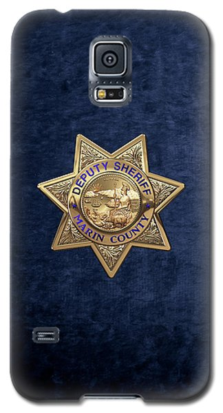 Galaxy S5 Case featuring the digital art Marin County Sheriff's Department - Deputy Sheriff's Badge Over Blue Velvet by Serge Averbukh
