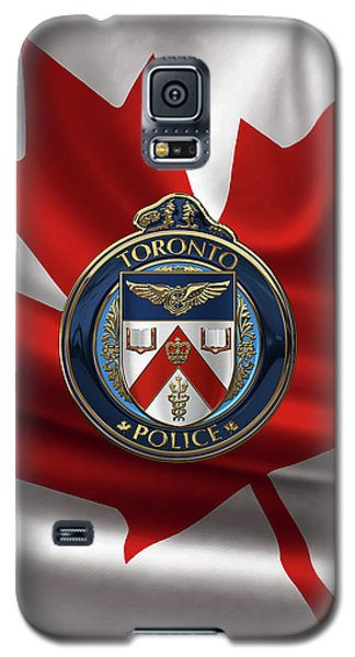 Galaxy S5 Case featuring the digital art Toronto Police Service  -  T P S  Emblem Over Canadian Flag by Serge Averbukh