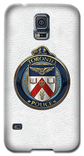 Galaxy S5 Case featuring the digital art Toronto Police Service  -  T P S  Emblem Over White Leather by Serge Averbukh