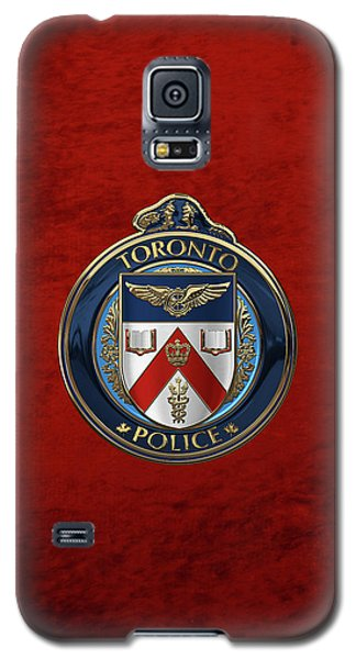 Galaxy S5 Case featuring the digital art Toronto Police Service  -  T P S  Emblem Over Red Velvet by Serge Averbukh