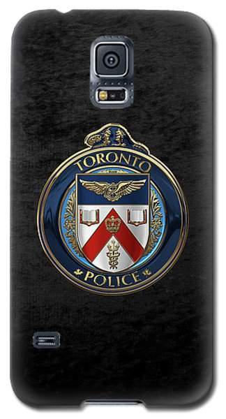 Galaxy S5 Case featuring the digital art Toronto Police Service  -  T P S  Emblem Over Black Velvet by Serge Averbukh