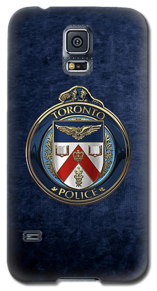 Galaxy S5 Case featuring the digital art Toronto Police Service  -  T P S  Emblem Over Blue Velvet by Serge Averbukh