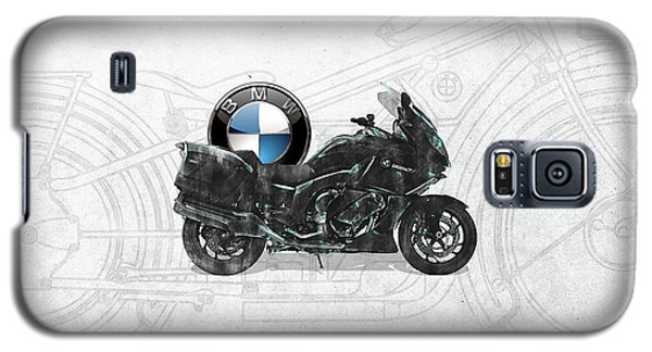 Galaxy S5 Case featuring the digital art 2016 Bmw-k1600gt Motorcycle With 3d Badge Over Vintage Blueprint  by Serge Averbukh