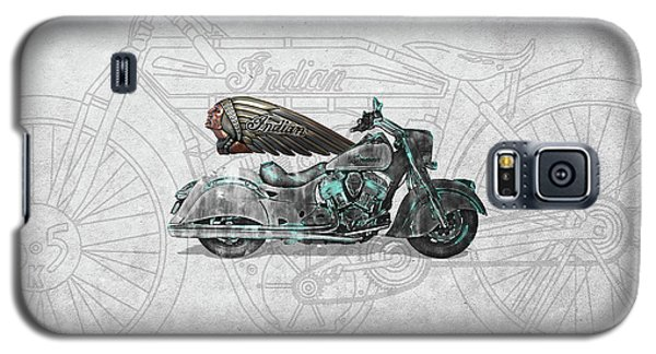 Galaxy S5 Case featuring the digital art 2017 Indian Chief Classic Motorcycle With 3d Badge Over Vintage Blueprint  by Serge Averbukh
