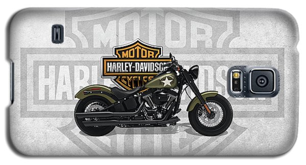 Galaxy S5 Case featuring the digital art 2017 Harley-davidson Softail Slim S Motorcycle With 3d Badge Over Vintage Background  by Serge Averbukh