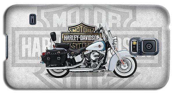 Galaxy S5 Case featuring the digital art 2017 Harley-davidson Heritage Softail Classic  Motorcycle With 3d Badge Over Vintage Background  by Serge Averbukh