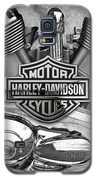 Galaxy S5 Case featuring the digital art Harley-davidson Motorcycle Engine Detail With 3d Badge  by Serge Averbukh