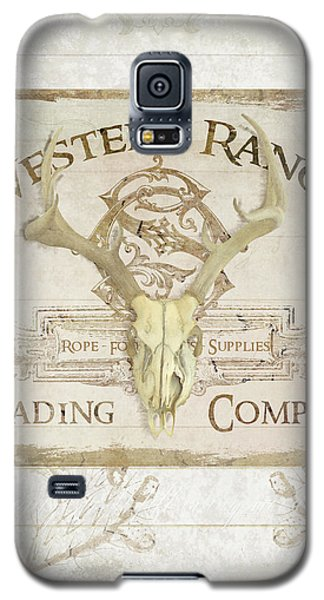 Galaxy S5 Case featuring the painting Western Range 3 Old West Deer Skull Wooden Sign Trading Company by Audrey Jeanne Roberts