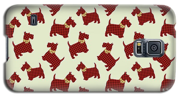 Galaxy S5 Case featuring the mixed media Scottie Dog Plaid by Christina Rollo