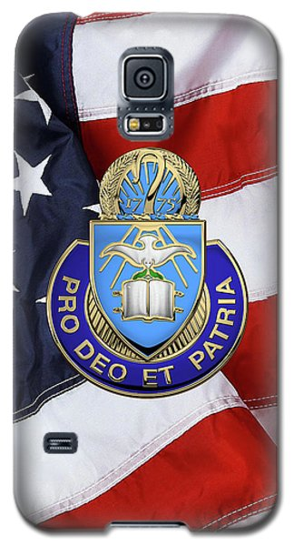 Galaxy S5 Case featuring the digital art U.s. Army Chaplain Corps - Regimental Insignia Over American Flag by Serge Averbukh