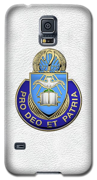 Galaxy S5 Case featuring the digital art U.s. Army Chaplain Corps - Regimental Insignia Over White Leather by Serge Averbukh