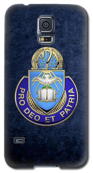 Galaxy S5 Case featuring the digital art U. S. Army Chaplain Corps - Regimental Insignia Over Blue Velvet by Serge Averbukh