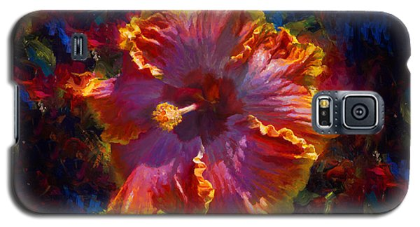 Rainbow Hibiscus Tropical Flower Wall Art Botanical Oil Painting Radiance  Galaxy S5 Case