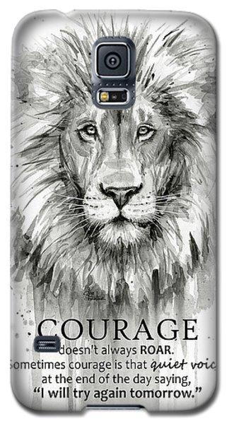Lion Galaxy S5 Case - Lion Courage Motivational Quote Watercolor Animal by Olga Shvartsur