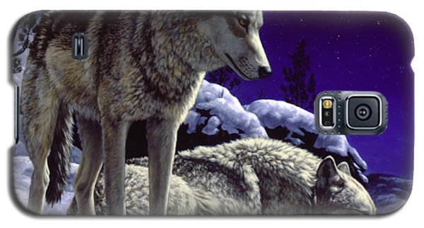 Wildlife Galaxy S5 Case - Wolf Painting - Night Watch by Crista Forest