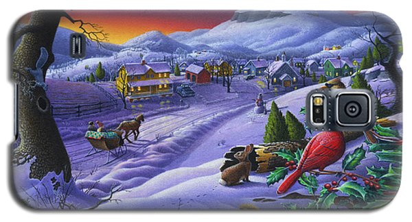 Christmas Sleigh Ride Winter Landscape Oil Painting - Cardinals Country Farm - Small Town Folk Art Galaxy S5 Case