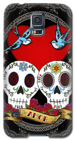 Galaxy S5 Case featuring the drawing Love Skulls II by Tammy Wetzel