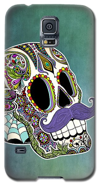 Galaxy S5 Case featuring the drawing Mustache Sugar Skull by Tammy Wetzel