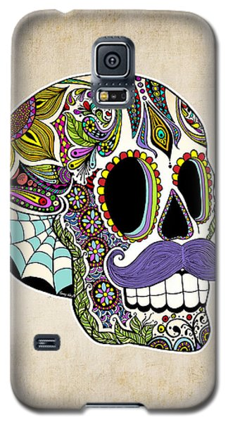 Galaxy S5 Case featuring the drawing Mustache Sugar Skull Vintage Style by Tammy Wetzel