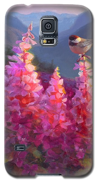 Eagle River Summer Chickadee And Fireweed Alaskan Landscape Galaxy S5 Case
