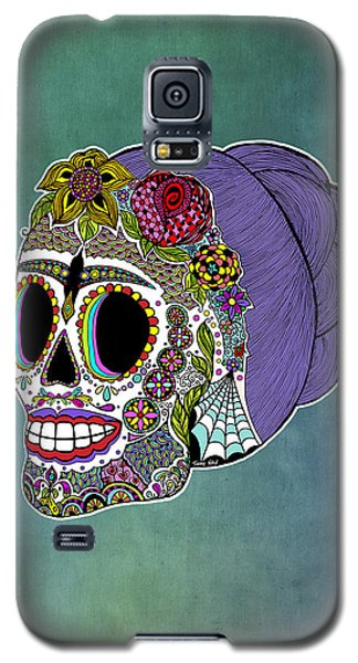 Galaxy S5 Case featuring the drawing Catrina Sugar Skull by Tammy Wetzel