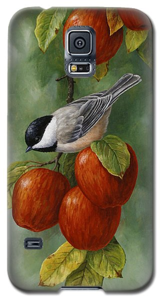 Bird Painting - Apple Harvest Chickadees Galaxy S5 Case by Crista Forest