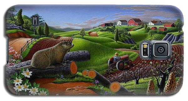Farm Folk Art - Groundhog Spring Appalachia Landscape - Rural Country Americana - Woodchuck Galaxy S5 Case