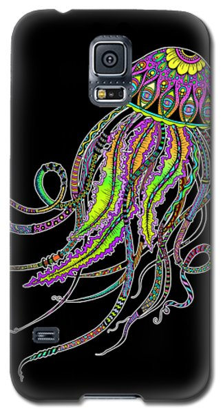 Electric Jellyfish On Black Galaxy S5 Case by Tammy Wetzel