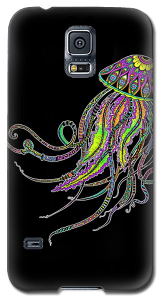 Galaxy S5 Case featuring the drawing Electric Jellyfish On Black by Tammy Wetzel