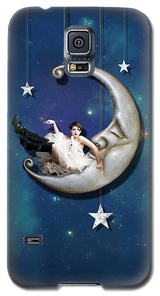 Galaxy S5 Case featuring the digital art Paper Moon by Linda Lees