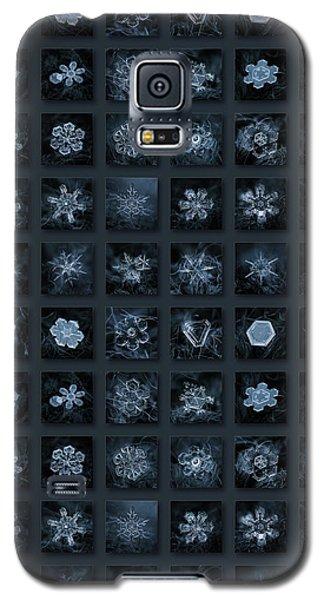 Galaxy S5 Case featuring the photograph Snowflake Collage - Season 2013 Dark Crystals by Alexey Kljatov