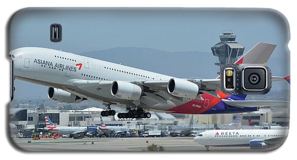 Galaxy S5 Case featuring the photograph Asiana Airbus A380-800 Hl7626 Los Angeles International Airport May 3 2016 by Brian Lockett