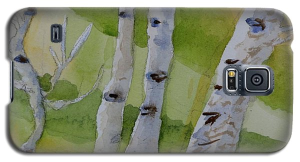 Galaxy S5 Case featuring the painting Aspen Trunks by Beverley Harper Tinsley