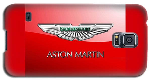 Aston Martin - 3 D Badge On Red Galaxy S5 Case by Serge Averbukh