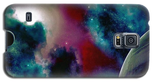 Galaxy S5 Case featuring the painting Astronomy Painting Glammed Out Teal by Catherine Lott
