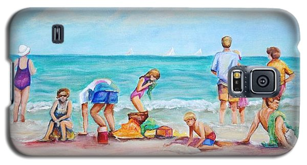 Galaxy S5 Case featuring the painting At The Beach by Patricia Piffath