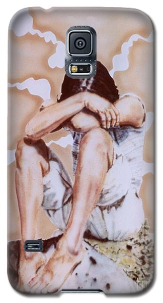 Athabaskan Girl On A Rock Galaxy S5 Case by Ron Bissett