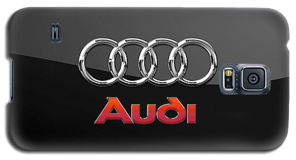Audi 3 D Badge On Black Galaxy S5 Case by Serge Averbukh