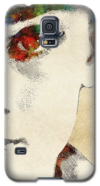 Audrey Half Face Portrait Galaxy S5 Case by Mihaela Pater