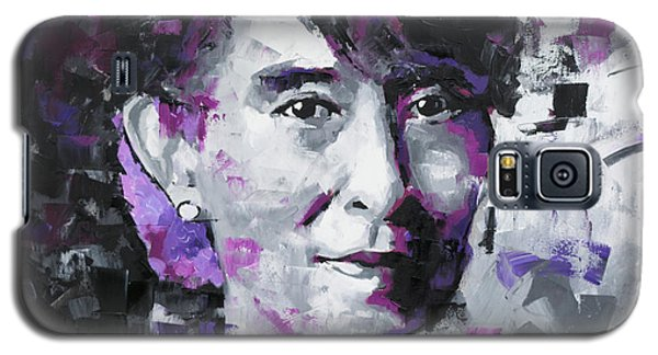 Galaxy S5 Case featuring the painting Aung San Suu Kyi by Richard Day
