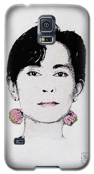 Galaxy S5 Case featuring the painting Aung San Suu Kyi by Roberto Prusso