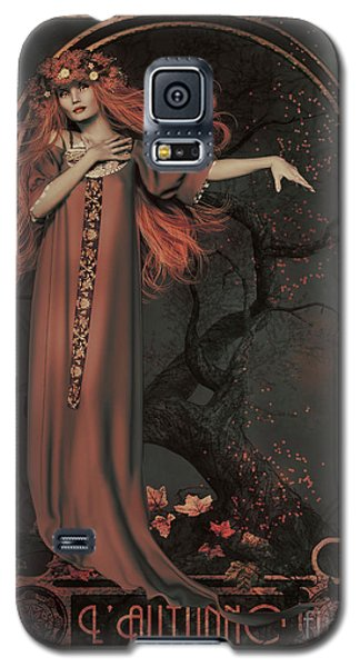Galaxy S5 Case featuring the digital art Autumn Art Nouveau  by Shanina Conway